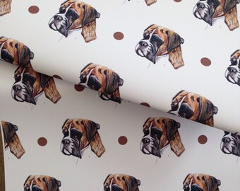 Boxer dog, wrapping paper, gift wrap, for boxer dog owners, read description