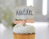 Baby Shower / Cupcake Toppers / Welcome Baby / Gender Reveal / It's a Girl / It's a Boy / Personalized Cupcake toppers