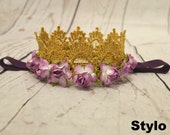 Baby Headband - Infant purple crown Headband - gold and purple Headband - Girl Headband - Photography Prop - Baby Flower Headband