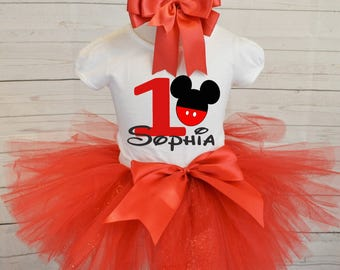 Red Mickey Mouse Birthday outfit,FREE SHIPPING,red outfit,birthday outfit,1st birthday,Mickey Mouse birthday set,red tutu set