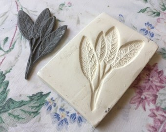 Clay Sprig Sage Leaf Pottery Press Mold - Push Mold - Leaf Sprig Mold for Ceramic Decoration and Texture