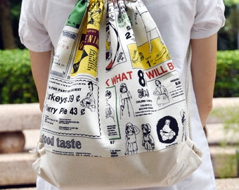 Drawstring backpack/ Cotton backpack/ Drawstring bag/ handmade backpack/ Gym bag/ Swim bag ~ Newspaper (B83)