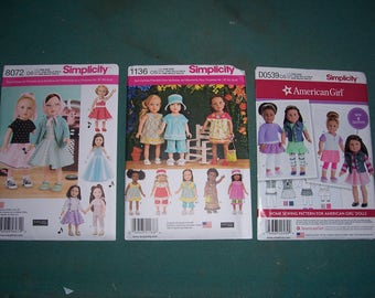 Simplicity 1136/8072/8041..American Girl Doll Pattern..18 Inch Doll Pattern..Elaine Heigl Designs..Dress..Pants..Top..Hat..Cute New Patterns