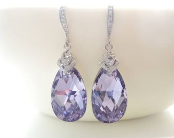 Lavender Earrings Light Purple Earrings Swarovski Crystal Earrings Bridesmaid gifts Wedding jewelry Bridal Earrings Bride Earrings