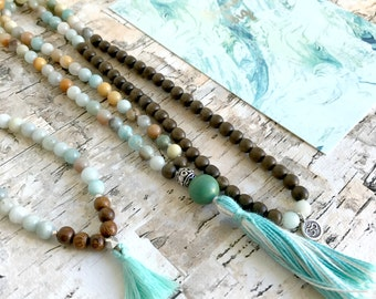 Calm. Amazonite & Wood Meditation Yoga Mala