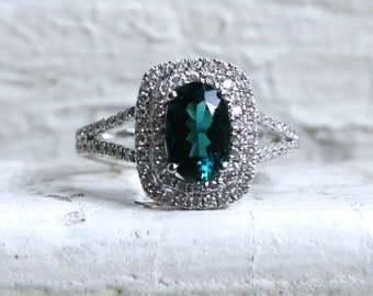 Sparkly Vintage 14K White Gold Diamond and Tourmaline Halo Ring - 1.83ct.