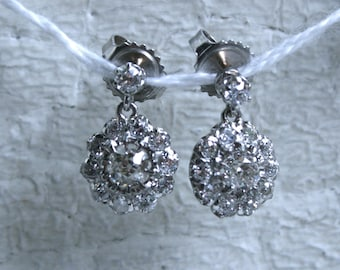 Beautiful Vintage 18K White/ Yellow Gold Diamond Cluster Earrings - 1.60ct.