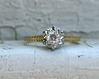 Beautiful Vintage 18K Yellow Gold Sapphire Solitaire Engagement Ring - 0.35ct