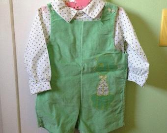 6-12M Baby Boy Toddler Mint Green Corduroy Overalls Polka Dot Shirt Set Shorts Spring Summer Puppy Dog
