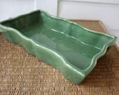 Green planter, green shallow planter, Bauer, mid century modern planter, shallow rectangular planter, Bauer planter