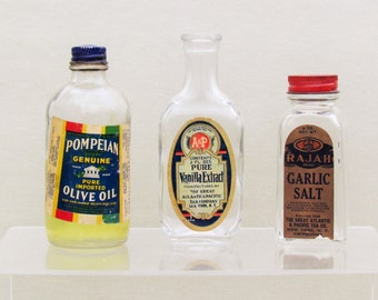 Lot of 3 vintage bottles, c.1930's to 1950's kitchen collectibles, commercial bottles for food products, retro kitchen collectibles