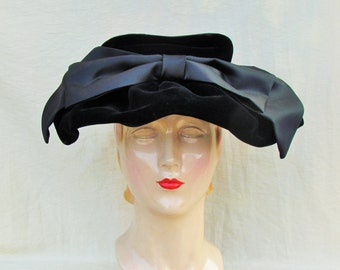 Vintage black velvet hat with black satin bow, 1940's woman's dressy hat with over sized bow