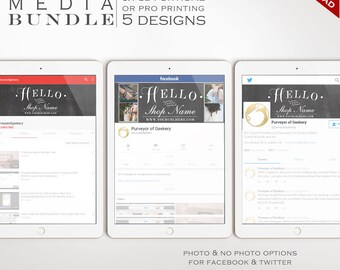 Social Media Template Kit - Chalkboard Facebook Cover, Twitter Header and YouTube Channel Art Templates - Social Media Brand BDSM AAA