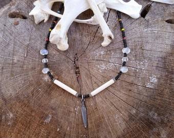 "choker. 15"". beads. bone. crystals."