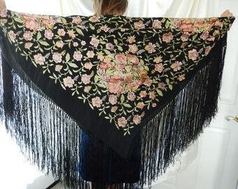 Antique Piano Scarf - Fringed Piano Shawl - Embroidered Black Shawl - Vintage Piano Scarf - 1930s Piano Shawl