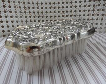 Victorian Clothes Brush - Silver Butlers Brush - Suit Brush - Silver Plate Garment Brush - Dresser Set - Edwardian Revival