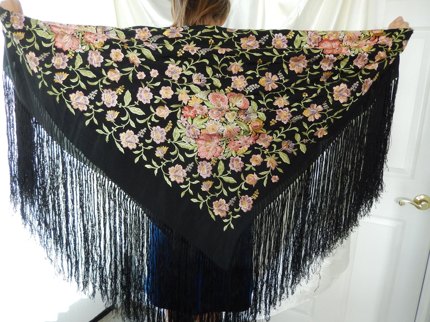 antique piano scarf fringed piano shawl embroidered black
