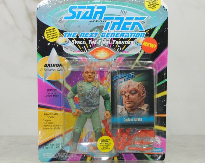 Vintage Star Trek The Next Generation Dathon A Tamarian Captain Action Figure, Playmates, 6070, 6060, 1993, Deep Space Cruiser, El-Adrel IV