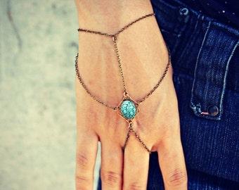 HOLIDAY SALE blue etched stone slave bracelet, turquoise hand chain, bracelet ring, ring bracelet, boho bracelet, hipster bracelet, slave ri