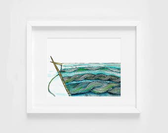 knitted cable wave seascape watercolor illustration art print | gifts for knitters, mermaid, craft, yarn, magic, ocean, decoration