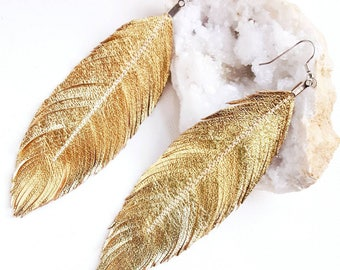 Metallic Feather Earrings - Bohemian Earrings, Gold Leather, Boho Bride, Silver Leather, Bridal Earrings, Boho, Large Earrings, Feather