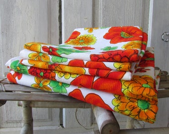 Set of vintage Curtains brightly colored flowers retro kitchen