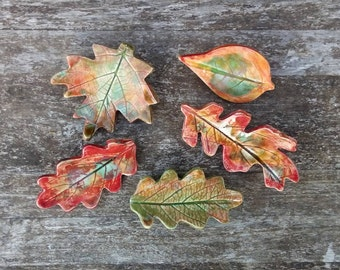 Autumn leaf brooch, Autumn colours, ceramic brooch pin