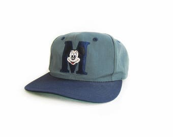 vintage baseball hat / Mickey Mouse / disney / snap back / 1990s green Mickey Mouse snap back hat