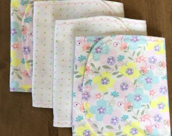 Cotton Baby Girl Burp Cloths - Set of 4 - Baby Shower Gift - Baby Gift