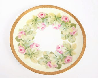 Antique RC Bavaria Plate Hand Painted Pink Roses 9 Inch Platter Encrusted Gold Trim Made In Germany