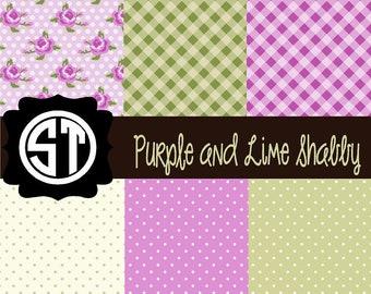 Purple and  Lime Shabby Patterns Vinyl (Indoor, Outdoor,  Glitter Vinyl, HTV iron on, Glitter Heat Transfer) Lamination available
