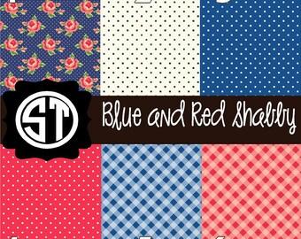 Blue and Red Shabby Patterns Vinyl (Indoor, Outdoor,  Glitter Vinyl, HTV iron on, Glitter Heat Transfer) Lamination available
