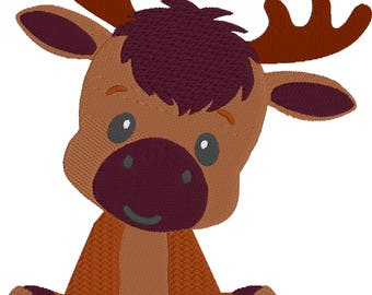 Embroidered Baby Moose HL2032 embroidery files Plus moose tracks!
