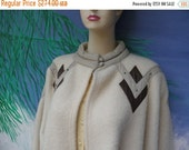 1/2 OFF Vintage DePietri Winter White 100% Wool Coat, Leather Accents, Made in Italy, Valentina Depietri