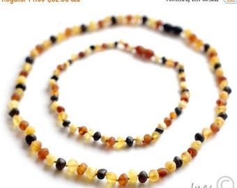 15% OFF Raw Unpolished Baltic Amber Baby Teething Set for Baby and Mommy. Multicolor Beads