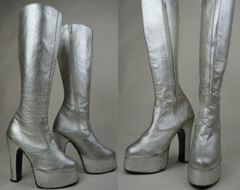 70s Glam Rock Silver Leather Slim Leg Knee High Platform Boots UK 3 / US 5.5 / EU 36