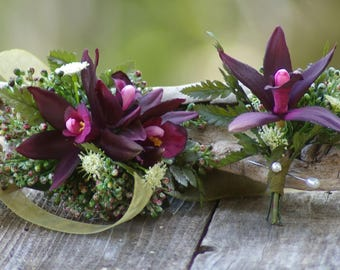 Silk Orchid Boutonniere OR Corsage Deep Plum