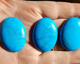 Turquoise Color Dyed Magnesite Cabochons Set of Three 30 x 40 mm TCDM1F