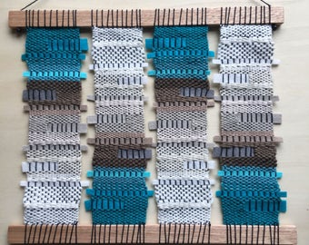 SALE - Contemporary Woven Gradient Ombre Teal Textile Wall Hanging Art Weave
