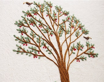 Embroidery Kit - Tree embroidery kit, home decor, tote bag embroidery, DIY embroidery, tree pattern, woodland style