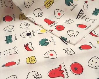 "Cute food illustration fabric, made in Japan, Japanese food, rice balls, egg rolls, bento food, vegetables, children fabric, 19.5"" x 20"""