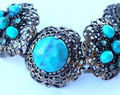 Selro Huge Aqua Rhinestone Bracelet