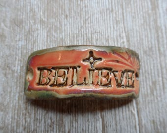 Believe Bracelet Bar  Pink and Turquoise