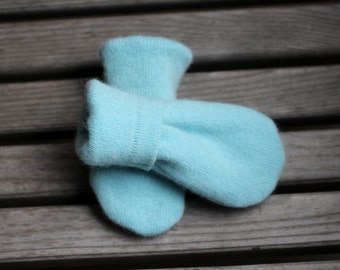 Newborn Infant Thumbless Mittens to 18m, Baby Blue Cashmere Mittens, Sweater Mittens, Upcycled/Reclaimed Cashmere Mittens, Cashmere lined