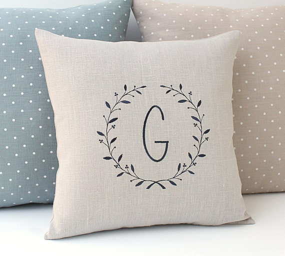 Personalized cushion Monogram pillow cover light grey Linen