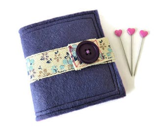 Dark Lavender Felt Needle Case - Felt Needle Case - Sewing Needle Case - Hand Sewing Needle Case - Needle Book