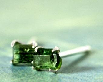 RAW TOURMALINE STUDS - Sterling Silver- Apatite, Peridot,Herkimer Diamond