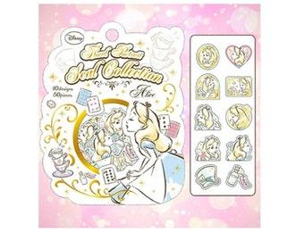 Scrapbook Diary Deco Label Sticker Pack Gold Bronzing Alice in Wonderland