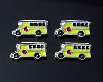 1 pcs  school bus Floating Charm for Living, Memory locket /FL1