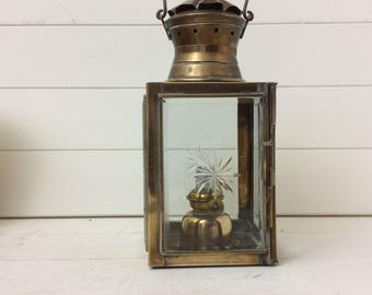 Vintage Brass Oil Lantern~Bevelled Glass~Porch lantern~Brass Carry Handle~Four Sided